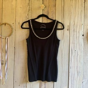 INC Black Tank with Gem Neckline EUC M